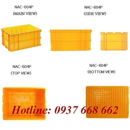 Thùng chứa NAC 604P. Kích thước: 800x600x400mm. khi nhìn các hướng