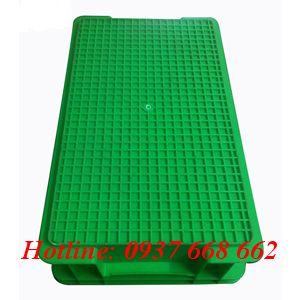 Mặt đáy thùng nhựa B2 xnah lá. Kích thước: 455x270x120 mm.