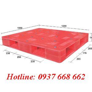 Pallet nhựa PL-01HG. Kích thước: 1200 x 1000 x 145 mm
