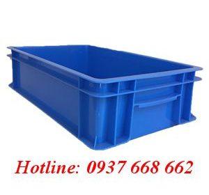 Thùng nhựa đặc B2 màu xanh dương. Kích thước: 455x270x120 mm