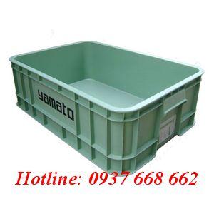 thùng nhựa đặc b1 màu cốm. Kích thước: 610x420x200 mm.