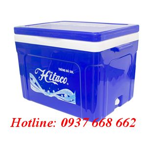 Thùng đá (thùng giữ lạnh) Hitaco 50L. Màu xanh dương. Kích thước: 570x380x430 mm