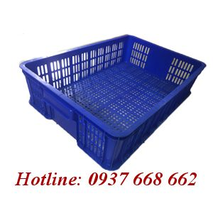 Thùng nhựa rỗng Hs008 - Kt: 610x420x150 mm. Màu xanh dương.