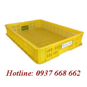 Thùng nhựa rỗng Hs010 - Kt: 610x420x100mm. Màu vàng.
