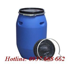 Thùng phuy nhựa (đựng hóa chất) 120L - Đai sắt.