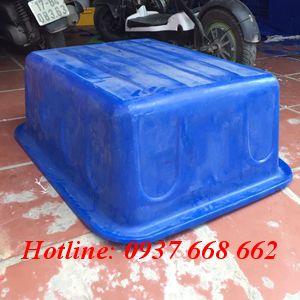 mặt đáy thùng nhựa chữ nhật dung tích 100L. Kích thước: 85x65x31 cm.