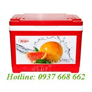Thùng đá (thùng giữ lạnh) Hibox 35L. Kích thước: 533x355x69 mm.