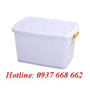 thùng vuông (hộp nhựa) 140L (Bx). Kích thước: 790x