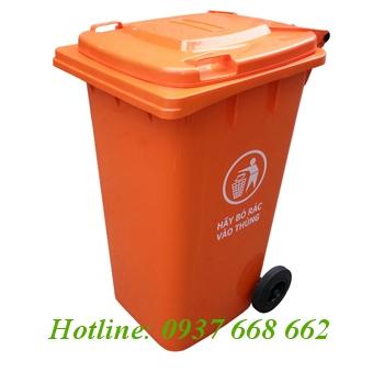 Thùng rác nhựa 240L. Kích thước: 550x740x1010 mm