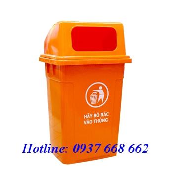Thùng rác nhựa HDPE 95l Nắp hở. Kích thước: 540x430x945 mm