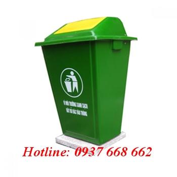 Thùng rác nhựa composite 60l nắp đẩy - đế đá