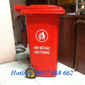 Thùng rác nhựa composite 240l. Kích thước: 740x580x1070 mm