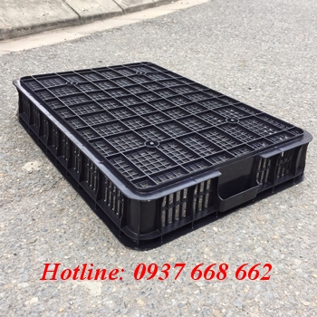 thùng nhựa rỗng hs010. kích thước 610x420x100 mm, chóng tĩnh điện
