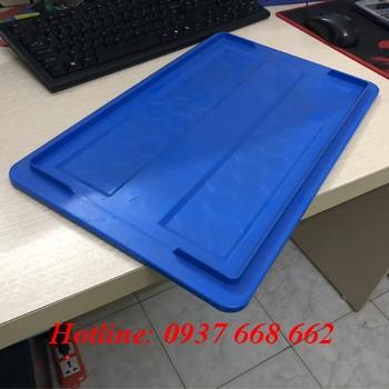 Nắp thùng nhựa b2 màu xanh dương. kt: 452x272 mm
