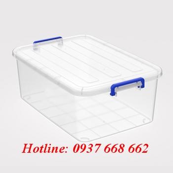 thùng chữ nhật (hộp nhựa) 55l. Quai xanh. kích thước: 67,6 x 45,7 x 25,4 cm