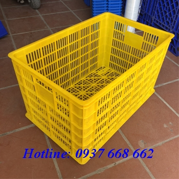 Sóng nhựa hửo 5 bánh xe. Kích thước: 780x500x430 mm. màu vàng