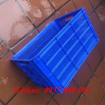 Thùng nhựa 6 sóng hở, kích thước: 610x420x310 mm