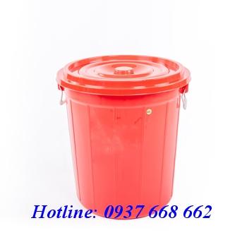 Thùng tròn 60l màu đỏ. kích thước: 490x490x520 mm