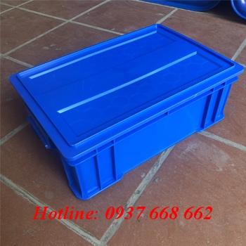 thùng b4 kèm nắp, màu xanh dương, kích thước: 510x340x170 mm