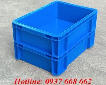 thùng nhựa đặc b12 màu xanh dương